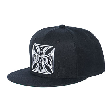 West Coast Choppers Logo Flat Peak Snap Back Cap Jesse James, Clothing Accessories - Fat Skeleton UK