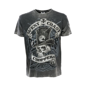 West Coast Choppers Cash Only Top Hat & Skull Jesse James T Shirt, Mens Clothing - Fat Skeleton UK