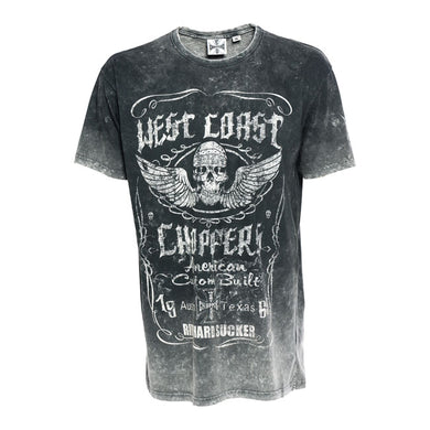 West Coast Choppers Ride Hard Sucker Wing Skull Jesse James T Shirt, Mens Clothing - Fat Skeleton UK