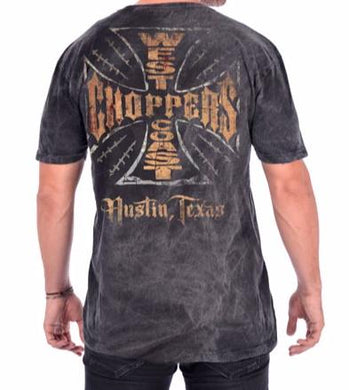 West Coast Choppers Jesse James Texas Web Iron Cross Vintage T Shirt, Mens Clothing - Fat Skeleton UK