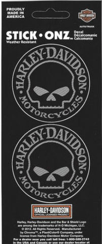 Genuine Harley Davidson Willie G Skull logo sticker set, Accessories - Fat Skeleton UK