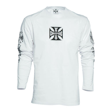 West Coast Choppers Jesse James original Iron Cross logo WHITE Long Sleeve T Shirt, Mens Clothing - Fat Skeleton UK