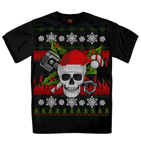 "The Bikers Christmas ""Knitted Look"" T Shirt, Mens Clothing - Fat Skeleton UK"