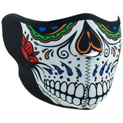 Muerte' Sugar Skull Half Face Mask, Face Masks - Fat Skeleton UK