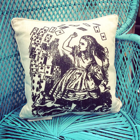 Alice In Wonderland Cushion - Alice & The Cards