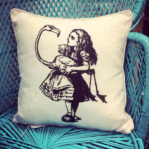 Alice In Wonderland Cushion - Alice & The Flamingo