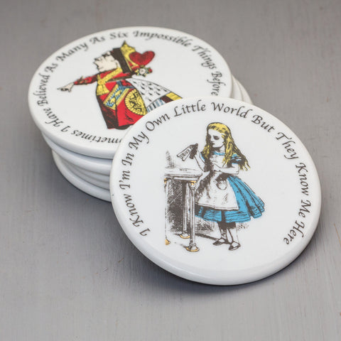 Alice In Wonderland Bone China Coaster Gift Set of 6