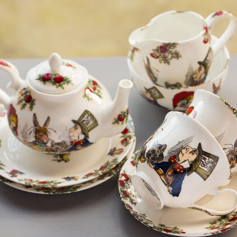 Alice In Wonderland Mad Hatters Tea party Bone China Tea Set for 2