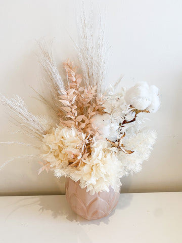 Everlasting arrangement in white/cream/blush in blush  pot
