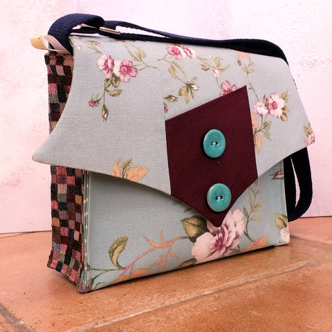 "Floral ""Arrowpoint"" Button Handbag"