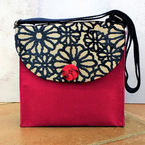 Blue & Hot Pink Button Handbag