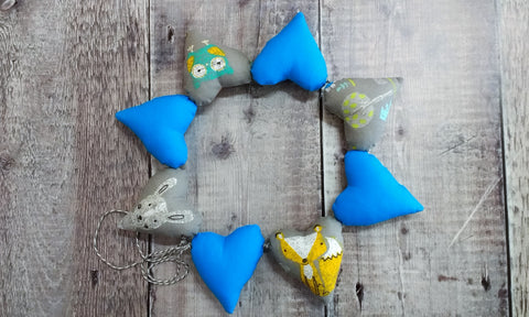 Heart Bunting (Woodland / Blue)