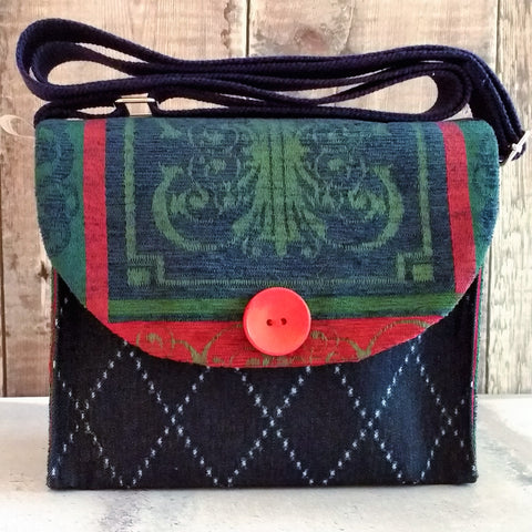 Navy Blue & Bottle Green Button Handbag