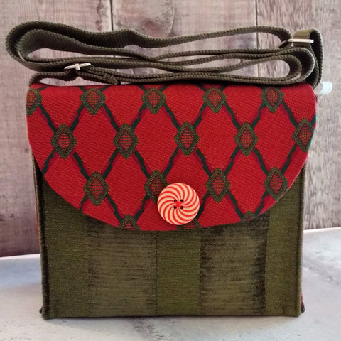Dark Pink & Moss Green Button Handbag