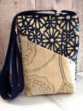 Navy Blue & Cream Button Hipster Bag