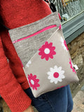 Pink Flower Button Hipster Bag