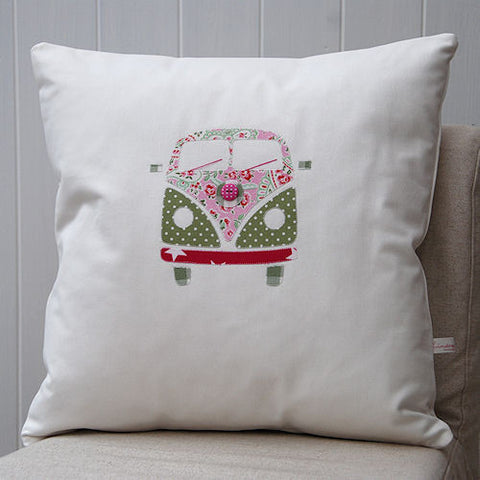 VW Campervan Cushion (green / pink)