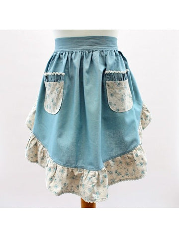 Waist Pinny (Dusty Blue / Floral Blue)