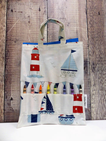 Oilcloth Crayon Bag (Lighthouses)