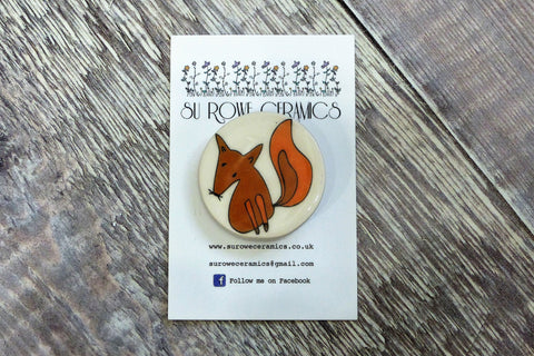 Ceramic Woodland Fox Brooch