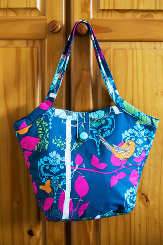 The Birdie Reversible Shoulder Bag - Indigo / Turquoise