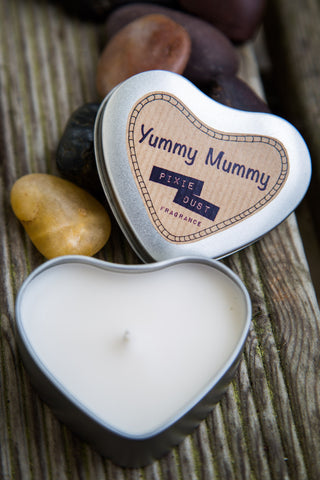 Hand Poured Heart Shaped Tin Candle (Yummy Mummy)