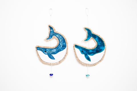Hessian Whale Hangings