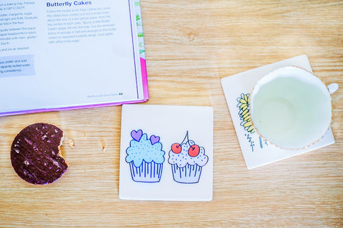 Single Ceramic Coaster (Cupcake)