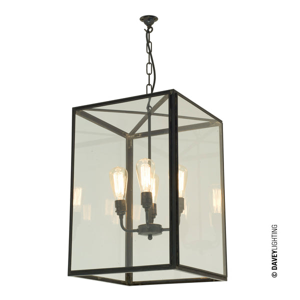 Square pendant, External Glass, XL & 4L /Holders, Weathered Brass