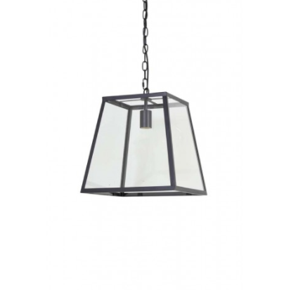 Saunte Glass Metal Black Hanging Lamp