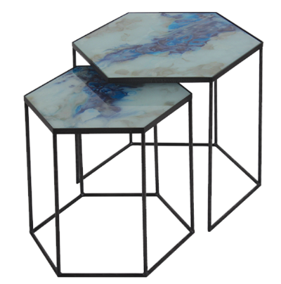 Cobalt Mist Organic Side Table Set
