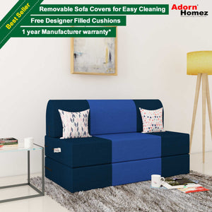 Dolphin Zeal 2 Seater Sofa Bed-N.Blue & R.Blue- 4ft x 6ft with Free micro fiber Designer cushions