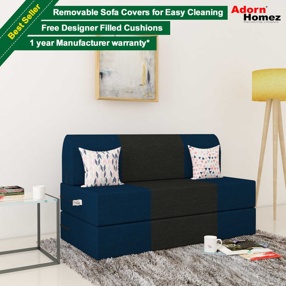 Dolphin Zeal 2 Seater Sofa Bed-N.Blue & Black- 4ft x 6ft with Free Designer filled cushions
