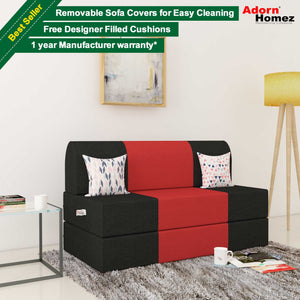 Dolphin Zeal 2 Seater  Sofa Bed-Black & Red- 4ft x 6ft with Free Designer filled cushions