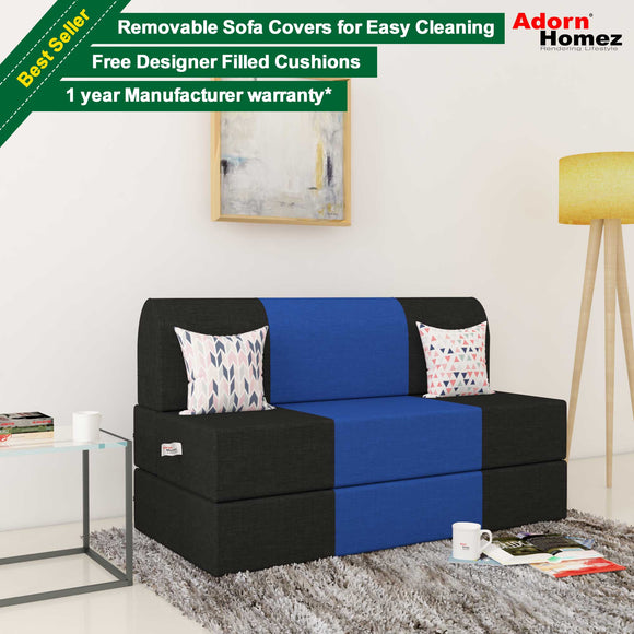 Dolphin Zeal 2 Seater Sofa Bed-Black & R.Blue- 4ft x 6ft with Free Designer filled cushions
