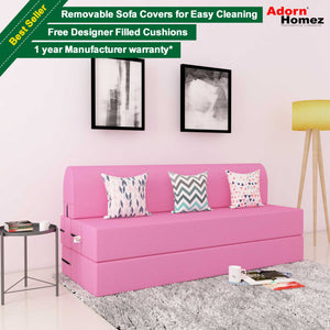 DOLPHIN 3 SEATER ZEAL SOFA BED - Pink with Free Designer filled cushions