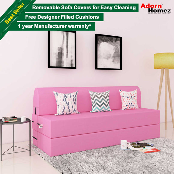 DOLPHIN ZEAL 3 SEATER SOFA CUM BED - Pink with Free micro fiber Designer cushions