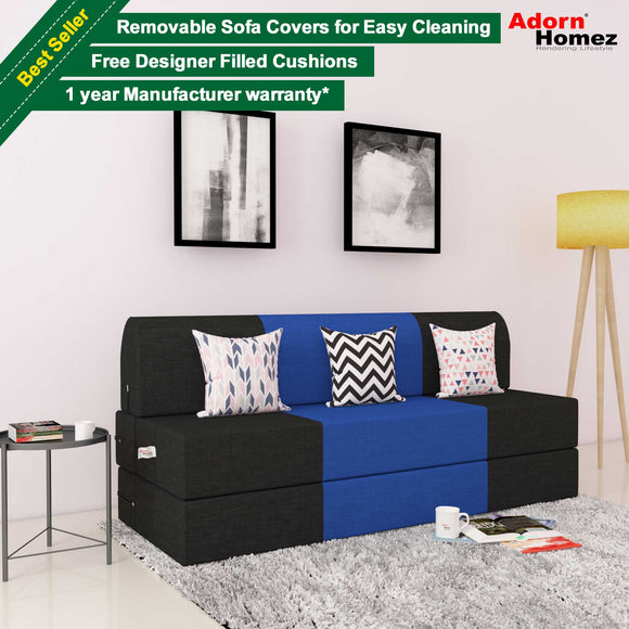 Dolphin Zeal 3 Seater Sofa  Bed-Black & R.Blue with Free Designer filled cushions