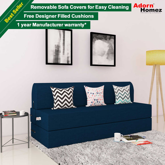 DOLPHIN ZEAL 3 SEATER SOFA CUM BED-NANY BLUE with Free micro fiber Designer cushions