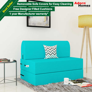 Dolphin Zeal 1 Seater Sofa Bed- Turquoise - 2.5ft x 6ft with Free micro fiber Designer cushions