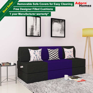 DOLPHIN ZEAL 3 SEATER SOFA CUM BED-Black & Purple with Free micro fiber Designer cushions