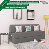 DOLPHIN ZEAL 3 SEATER SOFA CUM BED-GREY with Free micro fiber Designer cushions