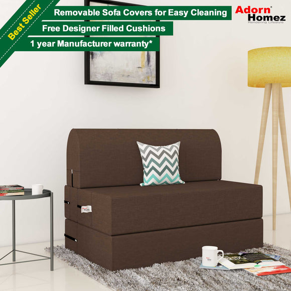 Dolphin Zeal 1 Seater Sofa Bed-Tan- 2.5ft x 6ft with Free micro fiber Designer cushions