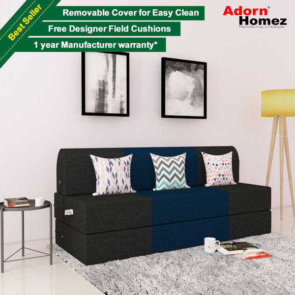 DOLPHIN ZEAL 3 SEATER SOFA CUM BED-N.Blue & Black with Free micro fiber Designer cushions