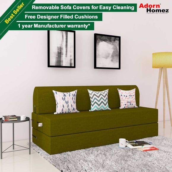 DOLPHIN ZEAL 3 SEATER SOFA CUM BED-GREEN with Free micro fiber Designer cushions