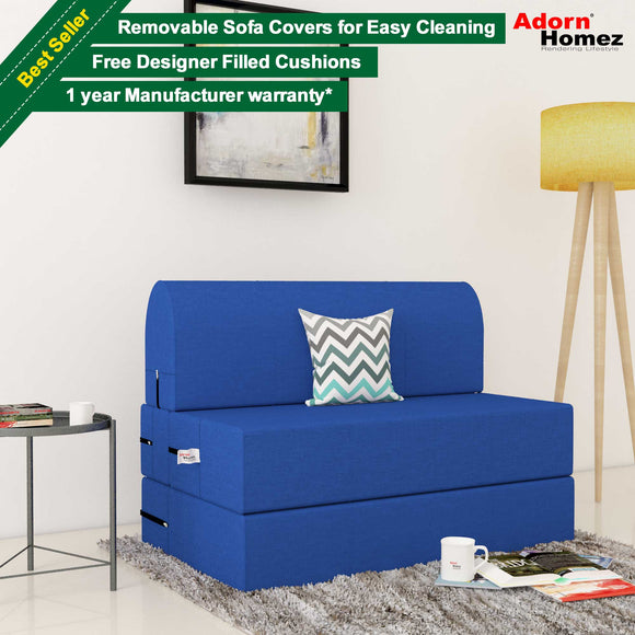 Dolphin Zeal 1 Seater Sofa Bed- R.Blue - 2.5ft x 6ft with Free micro fiber Designer cushions