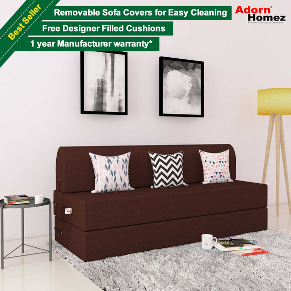 DOLPHIN ZEAL 3 SEATER SOFA CUM BED-BROWN with Free micro fiber Designer cushions