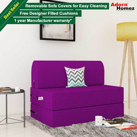 Dolphin Zeal 1 Seater Sofa Bed-Purple- 2.5ft x 6ft with Free micro fiber Designer cushions