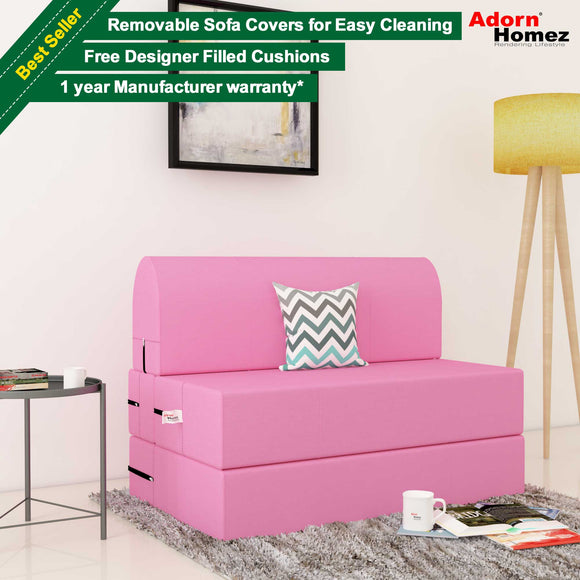 Dolphin Zeal 1 Seater Sofa Bed-Pink- 2.5ft x 6ft with Free Designer filled cushions