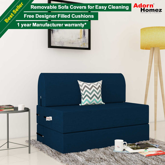 Dolphin Zeal 1 Seater Sofa Bed- N.Blue - 2.5ft x 6ft with Free Designer filled cushions